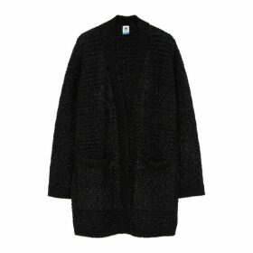 M Missoni Black Metallic-weave Wool-blend Cardigan