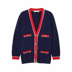 Philosophy Di Lorenzo Serafini Navy Knitted Cotton Cardigan
