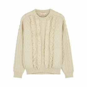 Tory Burch Ivory Fringed Cable-knit Wool Jumper