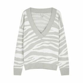 Varley Calvert Zebra-intarsia Wool-blend Jumper