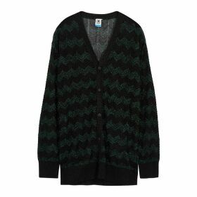 M Missoni Black Metallic Fine-knit Cardigan