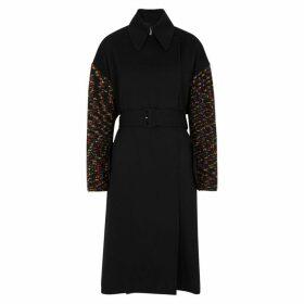 M Missoni Black Wool And Chunky-knit Coat