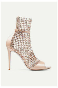René Caovilla - Galaxia Crystal-embellished Mesh And Satin Sandals - Blush