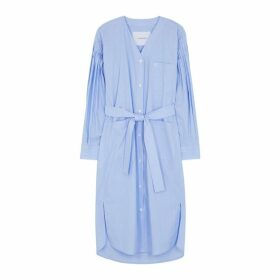 PushBUTTON Blue Pinstriped Cotton Shirt Dress