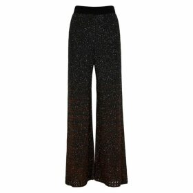 M Missoni Black Sequin-embellished Wide-leg Trousers