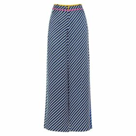 Tory Burch Striped Wide-leg Silk Trousers