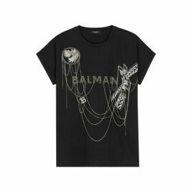 Balmain Black Chain-embellished Cotton T-shirt