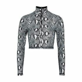 Adam Selman Sport Python-print Stretch-jersey Top