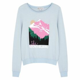 Wildfox Mont Blanc Printed Brushed-jersey Sweatshirt