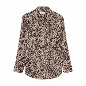 Equipment Pink Leopard-print Satin Shirt
