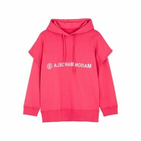 MM6 By Maison Margiela Pink Logo-print Hooded Cotton Sweatshirt