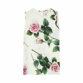 Dolce & Gabbana Ivory Floral Print Silk Top
