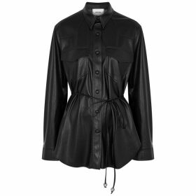 Nanushka Eddy Black Faux Leather Shirt