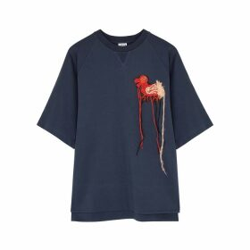 Loewe Navy Embroidered Cotton-jersey Sweatshirt