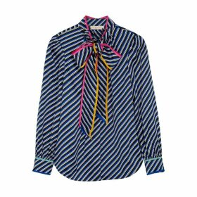Tory Burch Striped Silk-satin Blouse