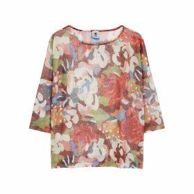 M Missoni Floral-print Lamé-weave Top