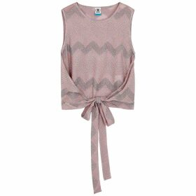 M Missoni Pink Zigzag Metallic-knit Top