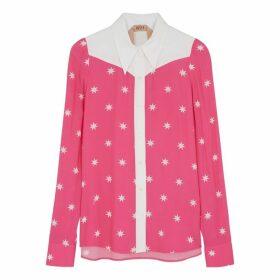 No.21 Fuchsia Star-print Chiffon Shirt