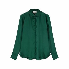 Mark Kenly Domino Tan Bertine Dark Green Silk-satin Blouse