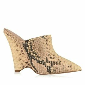 Yeezy Python Print Leather Wedge Mules