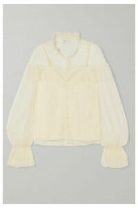 alice McCALL - Just Right Ruffled Point D'esprit Tulle Blouse - Cream