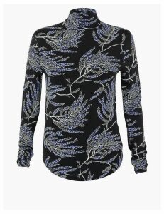 Per Una Modal Rich Printed Jersey Roll Neck Top