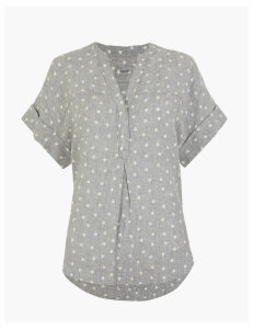 M&S Collection Pure Linen Polka Dot Popover Blouse