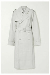 Vetements - Oversized Leather Trench Coat - Light gray