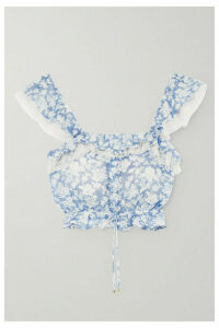 LoveShackFancy - Mia Ruffled Floral-print Cotton And Silk-blend Voile Top - Blue
