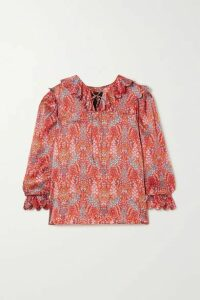 Horror Vacui - Cleo Lace-up Scalloped Floral-print Silk Blouse - Red