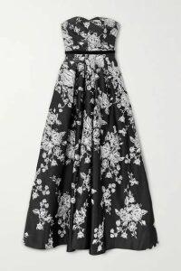 Marchesa Notte - Strapless Velvet-trimmed Embroidered Duchesse-satin Gown - Black