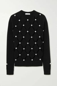 Paco Rabanne - Crystal-embellished Cutout Merino Wool Sweater - Black