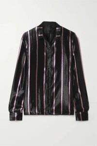 RtA - Blythe Striped Metallic Silk-blend Lamé Shirt - Black