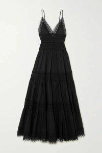 Charo Ruiz - Cindy Crocheted Lace-paneled Cotton-blend Maxi Dress - Black