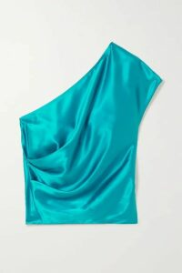 Michelle Mason - One-shoulder Draped Silk-charmeuse Top - Turquoise