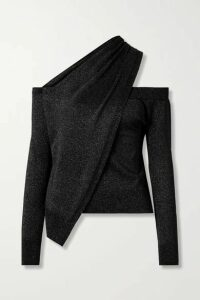 RtA - Juliet One-shoulder Draped Wool And Lurex-blend Sweater - Black