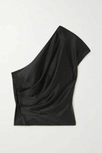 Michelle Mason - One-shoulder Draped Silk-charmeuse Top - Black