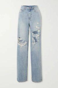 Ksubi - Playback Kut Up Distressed High-rise Straight-leg Jeans - Light denim