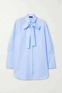 Akris - Pussy-bow Striped Cotton-poplin Shirt - Blue