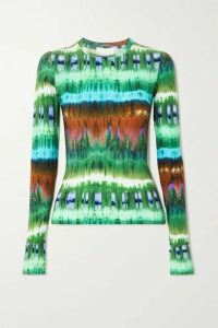 Marcia - Tie-dyed Stretch-jersey Top - Green