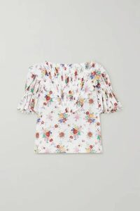 Horror Vacui - Charlotte Pintucked Floral-print Cotton-voile Blouse - Ivory