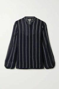 Akris - Striped Silk-georgette Shirt - Midnight blue