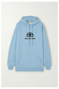 Balenciaga - Oversized Printed Cotton-jersey Hoodie - Blue