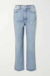AGOLDE - Pinch Waist Cropped Distressed High-rise Flared Jeans - Mid denim