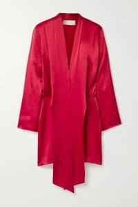 Michelle Mason - Draped Silk-satin Mini Dress - Crimson