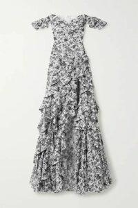 Caroline Constas - Off-the-shoulder Ruffled Floral-print Cotton-blend Poplin Gown - White