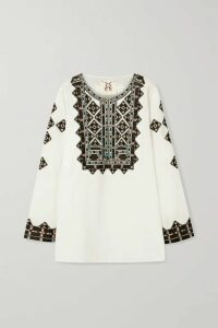 Figue - Iris Embroidered Cotton-voile Top - White
