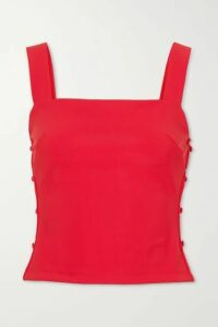 Marcia - Taxi Girl Cropped Cutout Stretch-jersey Top - Red