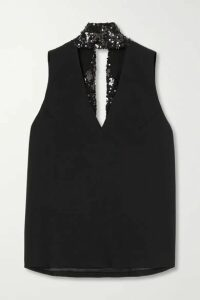 Galvan - Tie-detailed Sequin-embellished Crepe Top - Black