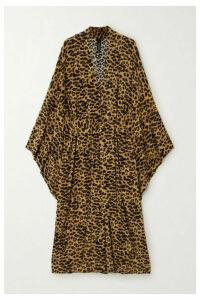 Norma Kamali - Belted Leopard-print Stretch-jersey Robe - Leopard print